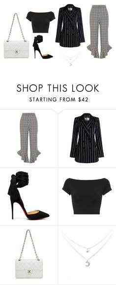 """""""work day"""" by carolinecorradine ❤ liked on Polyvore featuring River Island, Zimmermann, Christian Louboutin, Helmut Lang, Chanel, StreetStyle and ootd"""