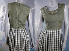 Vintage Dirndl Dress, Green Check Bavarian Octoberfest Dress, Trachten German Festival Clothing: Size 10 US, 14 UK by YouLookAmazing on Etsy