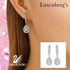 The brilliant sparkle that only Swarovski silver crystal jewelry can provide. This beautiful pair of dangle earrings will bring a smile to anyone's face. $99.00 Luxenberg's...We want to be your Jeweler! www.luxenbergs.com