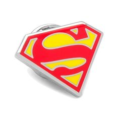 Cufflinks Inc Enamel Superman Shield Lapel Pin ($18) ❤ liked on Polyvore featuring jewelry, brooches, red, superman jewelry, pendant jewelry, enamel jewelry, red brooch and red jewelry