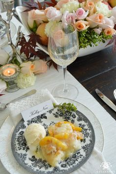 Peach Cobbler in Formal Dining Room with Centerpiece