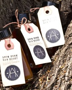 Honey favors with custom logo tags - This would also be great to do with Maine Maple Syrup!