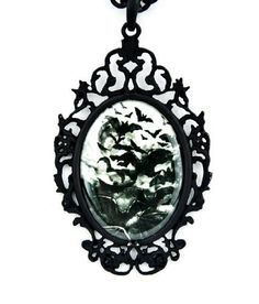 """Swarm of Vampire Bats Necklace Under a Full Moon. 3"""" X 2"""" inch pendant. High Quality Pewter Metal. Comes on Adjustable 24"""" inch Black Chain"""