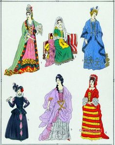 Robes Fashion under Louis XIV. French female costumes.