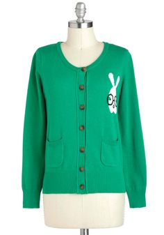 A Little Bit Bunny Cardigan in Grass - Green, Black, White, Solid, Buttons, Pockets, Casual, Quirky, Long Sleeve, Scholastic/Collegiate