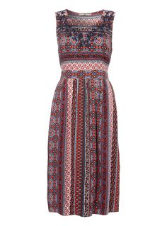Vibrant and colourful, this printed midi dress will make a versatile addition to your warm weather wardrobe. Cut to a relaxed fit, this dress is finished with a scoop neck and a self-tie belt at the back.  Multicoloured printed midi dress Scoop neck Sleeveless Self-tie belt A-line silhouette Relaxed fit Model's height is 5'11