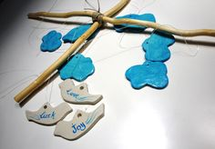 """absolutely lovely hanging mobile """"wishing on the clouds""""! Baby Crib Mobile, Baby Cribs, Grace To You, Cloud Mobile, Hanging Mobile, Acrylic Colors, Handicraft, Wish, Clock"""