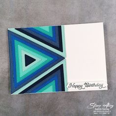 Stampin 'Up! Stitched Triangle Note Card Masculine Birthday Cards, Masculine Cards, Strip Cards, Hexagon Cards, Right Triangle, Card Making Designs, Bday Cards, Thing 1, Shaped Cards