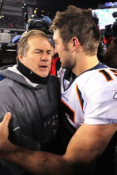 """Belichick and Tebow…the new NFL """"Odd Couple""""   http://pigskinnpearls.com/belichick-and-tebow-new-nfl-odd-couple/  #NFL #Patriots #Tebow"""