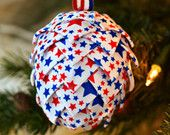 Patriotic Christmas Ornament ~ Red White Blue Americana Holiday Tree Decoration ~ Gift Idea for Military Service ~ USA Stars & Stripes Motif