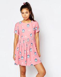 ASOS Lazy Oaf Smock Dress In Spot And Poodle Print