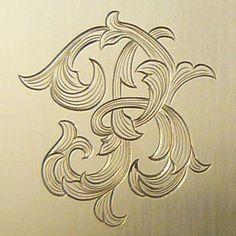 Letter B Monogram Done In Leaf Script Engraving Monogram Design, Monogram Letters, Gravure Metal, Motif Baroque, Metal Engraving, Engraving Ideas, Script Lettering, Leather Pattern, Letter Art