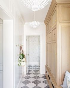 """KristyWoodsonHarvey/DesignChic on Instagram: """"The most beautiful way to stay organized with @the_fox_group_. The floors are incredible! Photography  @lindsay_salazar_photography…"""" Checkerboard Floor, Mudroom Laundry Room, Black And White Tiles, Blue And White Wallpaper, White Oak, Interior Decorating, Interior Design, Staying Organized, Architecture"""
