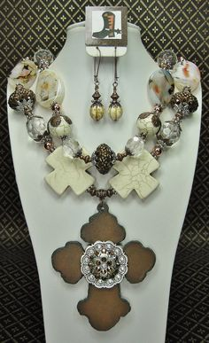 Creamy White / Brown Statement Western by CayaCowgirlCreations, $62.50