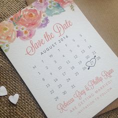 Beautiful, Floral Calendar Style Save the Date - Wedding Save the Date - Floral Wedding - Save the Date - Spring Wedding