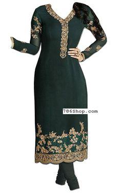 Bottle Green Chiffon Suit | Buy Pakistani Indian Dresses