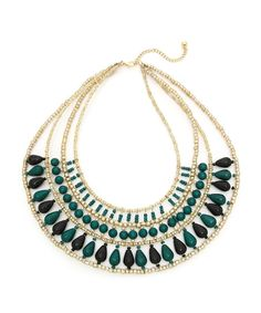 Showstopping Beaded Necklace - Teal and Gold  $8.50