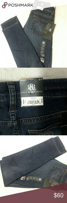 "BNWT Rock & Republic women's low rise skinny jeans BNWT women's Rock & Republic jeans size 0 slim fit, skinny, low rise. Rock & Republic studded logo on back pockets. Measurements: W 13 1/2"" I 28 1/2"" L 38 1/2"". Nice jeans!! Rock & Republic Pants Skinny"
