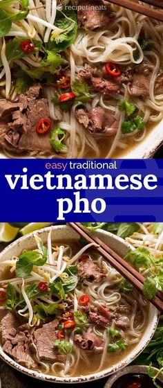A traditional Pho recipe that's easy to make at home - as long as you have a big pot! Vietnamese Soup, Vietnamese Cuisine, Asian Recipes, Healthy Recipes, Ethnic Recipes, Healthy Soup, Soup Recipes, Cooking Recipes, Pho Soup Recipe Easy