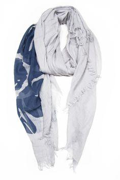 Grey with Blue Flower Scarf