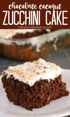 This Coconut Chocolate Zucchini Cake is dense and moist, and the coconut frosting is so yummy! An extra tasty zucchini dessert recipe. #chocolatezucchinicake #coconutchocolatezucchinicake #coconutfrosting #creationsbykara #zucchinirecipe Homemade Desserts, Delicious Desserts, Dessert Recipes, Coconut Zucchini Cake, Savoury Dishes, Food Dishes, Chocolate Desserts, Coconut Chocolate, Dessert From Scratch