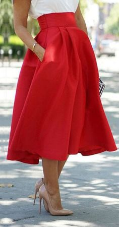 Red High Waist Pocket Skater Midi Skirt - Choies.com