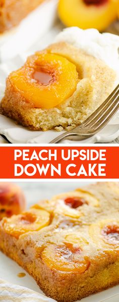 This homemade Peach Upside Down Cake is a delicious dessert recipe made perfect with fresh summer peaches, cinnamon and vanilla. #PeachCake #UpsideDownCake #PeachDessert