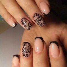 Elegant and Cute Acrylic Nail Designs, unique ideas for you to try in special day or event. Cute Acrylic Nail Designs, Cute Acrylic Nails, Nail Polish Designs, Nail Art Designs, Gorgeous Nails, Pretty Nails, Nagellack Design, Lace Nails, Lace Nail Art