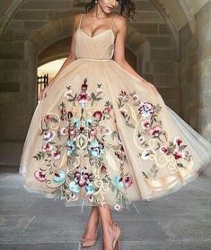 Custom Made Light Brown V-Neckline Spaghetti Strap Tulle Evening Dress, Prom Dress with Floral Embroidery · Butterfly Love · Online Store Powered by Storenvy Tulle Prom Dress, Homecoming Dresses, Dress Up, Nude Dress, Pretty Dresses, Pretty Outfits, Looks Party, Mode Rose, Evening Dresses