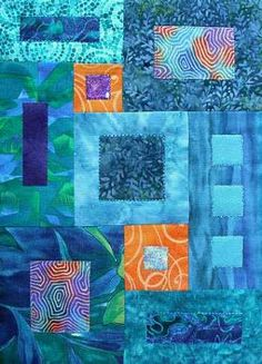 Playing with turquoise by Linda Bilsborrow as seen at Little Gem Quilts