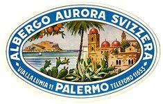 Vintage Suitcases, Vintage Luggage, Vintage Travel Posters, Palermo Italy, Vintage Hotels, Vintage Market, Aurora, Luggage Labels, Typography Layout
