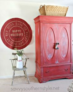 Savvy Southern Style : Farmhouse Style Guestroom for Christmas Furniture Makeover, Home Furniture, Flannel Duvet Cover, Christmas Bedroom, Christmas Christmas, Savvy Southern Style, Cute Pillows, French Country Style, Painted Furniture