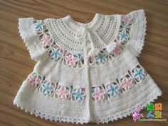 "Baby jacket [ ""International Crochet Patterns, crocheted set for baby with round yoke. Crochet Baby Dress Pattern, Baby Girl Crochet, Crochet For Kids, Crochet Patterns, Crochet Children, Crochet Flower, Crochet Ideas, Dress Patterns, Crochet Baby Sweaters"