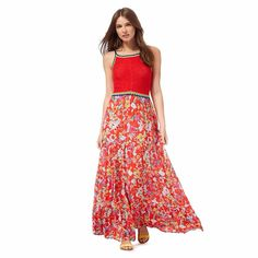 e07cdb84cd0 Red Herring Red Crochet Maxi Dress Size 10 rrp Featuring a multi-coloured  crochet top