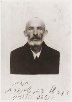 ID photo of Menahem Sheinberg taken in the Nowy Sacz ghetto.  Menahem Sheinberg was an uncle of Berel Silbiger.
