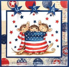 """Stamp used was House-Mouse """"Star Spangled Mice"""" by Stampendous. http://www.ebay.com/itm/262279941530?ssPageName=STRK:MESELX:IT&_trksid=p3984.m1555.l2649"""