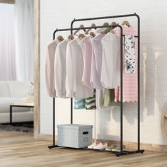 Home & Kitchen Clothing & Wardrobe Storage Topower Vintage Garment Rack movable Clothing Rack Industrial Pipe Rack Retail Clothing Shows Storage
