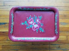 Vintage Shabby Chic Metal Folding Tray Table in Raspberry Pink with Flowers