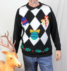 Ugly Christmas Sweater M size Bells Balls & Holly Oh Boy Tacky Spice Life Tunic #spiceoflife #Tunic
