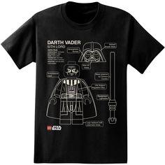 LEGO Star Wars Darth Vader Blueprint Logos T-Shirt #tees #legostarwars #drawing #schematic