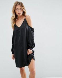 ASOS Cold Shoulder Dress In Satin