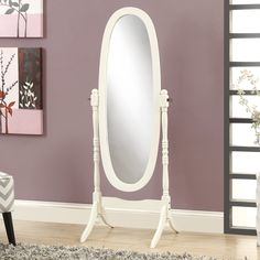 Monarch Antique White Oval Standing Mirror - in. - Perfect for a little girl's or teen's frilly, feminine space, this classic Monarch Antique White Oval Standing Mirror - in. Freestanding Mirrors, Cheval Mirror, Decorative Mouldings, Bedroom Flooring, Traditional Decor, Wooden Flooring, Quartos, Flats, Yurts