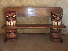 This tiki bench would be pretty cool for a bench, it would be even better with a surfboard as the seat or backrest...