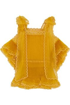 Mustard silk-organza Ties at shoulders 100% silk; trim: 80% silk, 20% cotton; lining: 100% polyester Dry clean Made in France