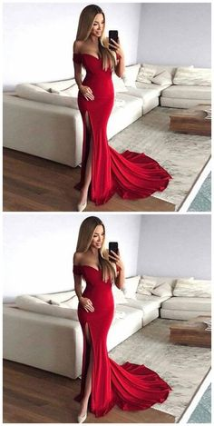 2018 Mermaid Prom Dress, Sexy Mermaid Off-Shoulder Red Long Prom Evening Dress with Split Front 2018 Mermaid Abendkleid, Sexy Mermaid Off-Shoulder Red Langes Abendkleid Prom Dresses For Teens, Prom Dresses 2018, Mermaid Prom Dresses, Cheap Prom Dresses, Tight Dresses, Red Tight Prom Dress, Red Mermaid Dress, Red Long Dress Bridesmaid, Dress Formal
