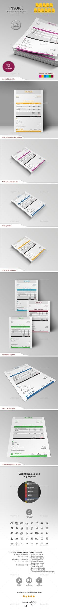 Simple and Clean Invoice Invoice template, Proposals and Photoshop