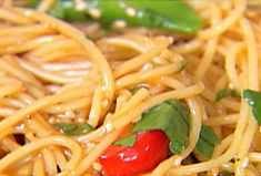Peanut Noodle Salad - this is one of my favorite things to make!! It can be served hot or cold. I love adding some red pepper flakes or Asian chili paste for some heat!  Adding some slices of steak really makes it.     Tip: you can go easy on the oil.
