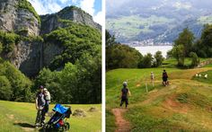 Treasure hunt activity trail for children leading to beautiful waterfalls on the gorgeous Walensee lake south of Zurich. Fun day trip for Zurich families. Lakeside Cafe, Trail Signs, Lake Zurich, Mountain Trails, Trail Maps, Boat Dock, Beautiful Waterfalls, Picnic Area, Day Trip