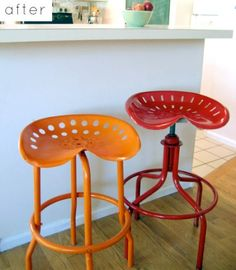 DIY-Old tractor seats into cool bar stools -- LOVE LOVE LOVE