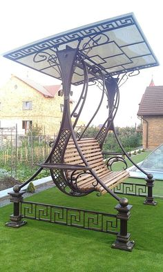 Pergola For Small Backyard Refferal: 8068591063 Iron Furniture, Steel Furniture, Garden Furniture, Garden Art, Garden Design, Pavillion, Door Gate Design, Steel Art, Iron Art